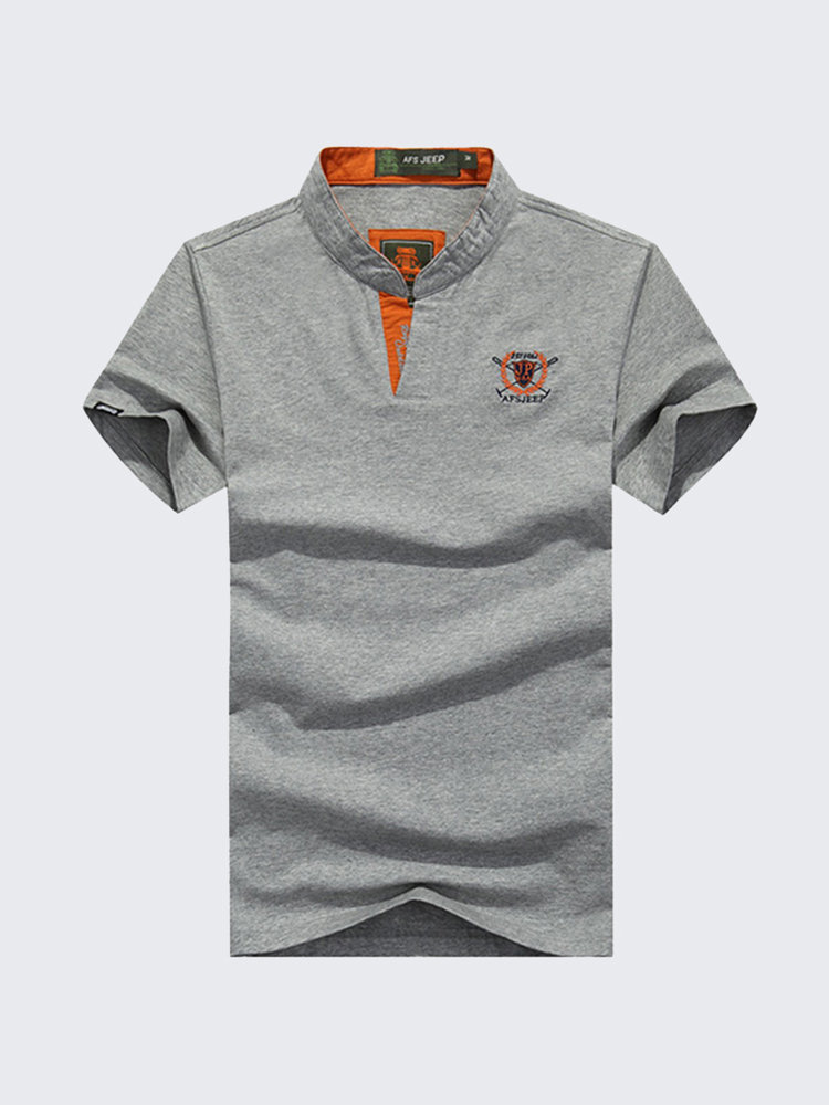 Mens Solid Color Logo Printing Turndown Collar V-neck Short Sleeve Polo T-shirts
