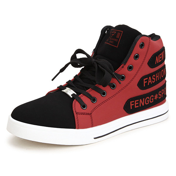 Men Pu Letter Color Match Waterproof High Top Lace Up Casual Shoes