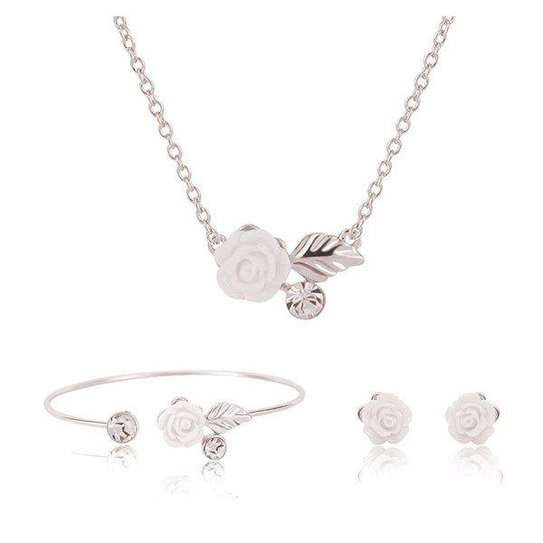 Сплав Смола Белый цветок розы Свадебные ожерелье серьги комплект ювелирных изделий