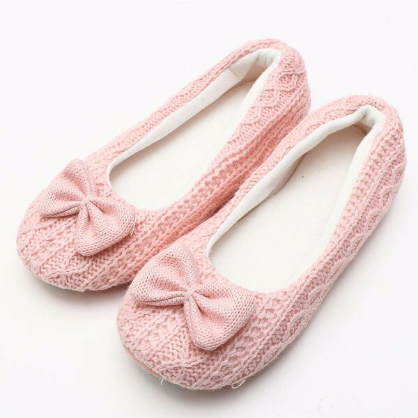 Cute Butterfly Knot Slip On Indoor Home Shoes