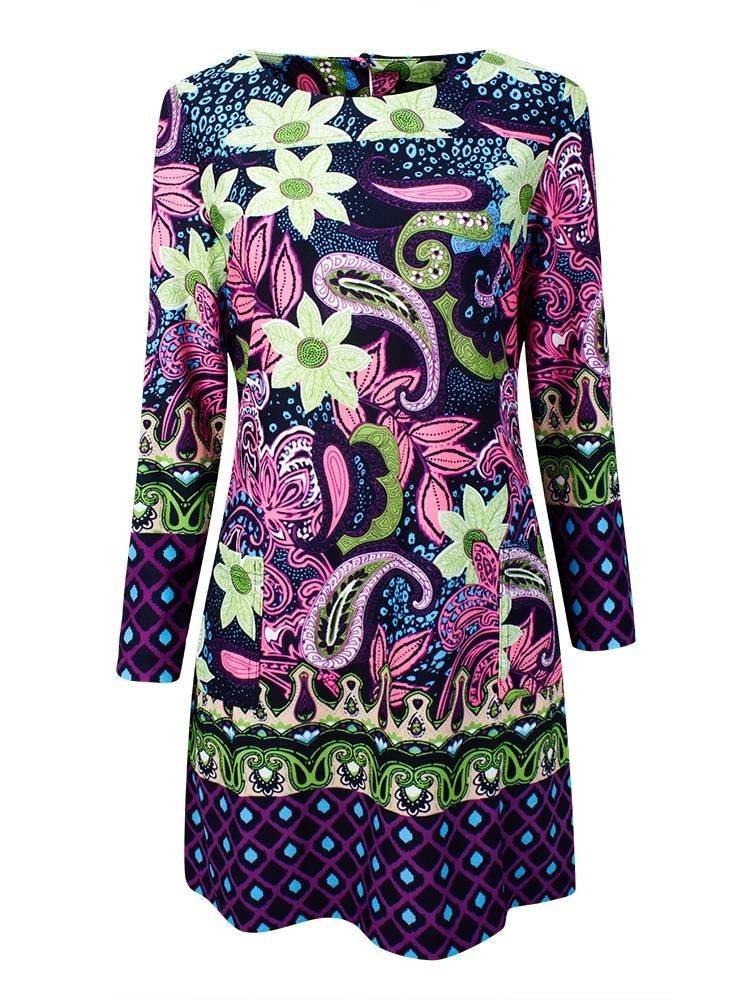 Plus Size Classical Ethnic Print Pockets Slim Dress