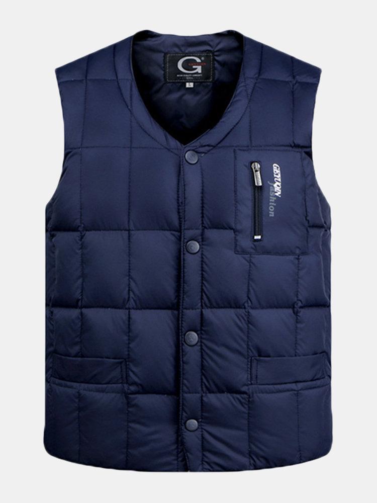Casual Outdoor Fishing Duck Down Vest Casual Loose Waistcoat Coats For Men
