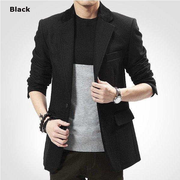 Men's Winter British style Business Casual Slim Fit Woolen Suit Coat