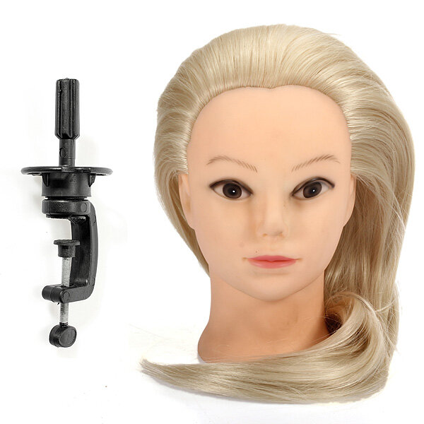 18 Inch Blonde Fiber Hair Hairdressing Training Head Model With Clamp