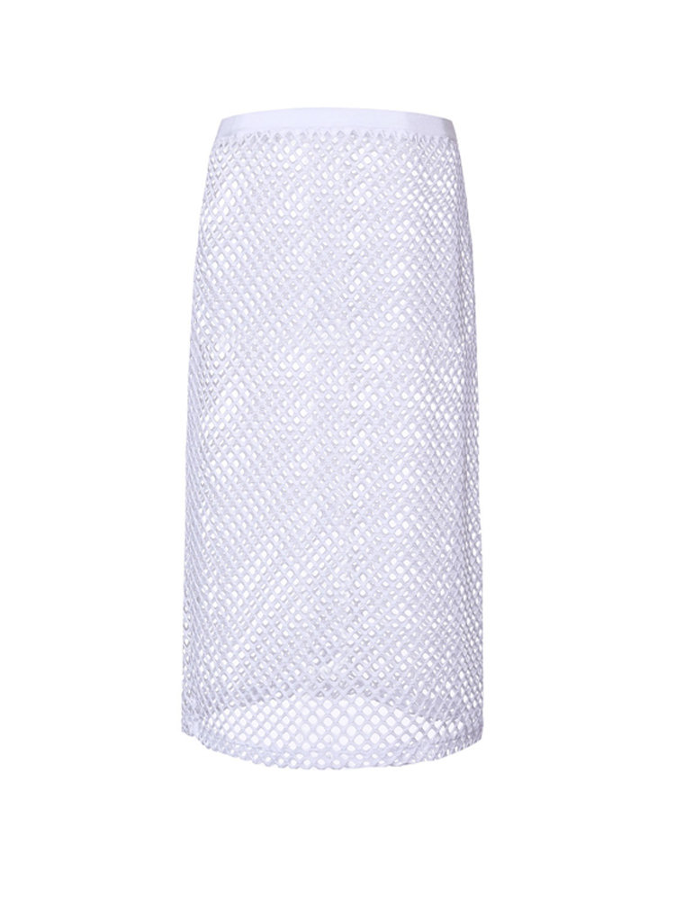 Sexy Net Hollow Out White Polyester Beach Skirt