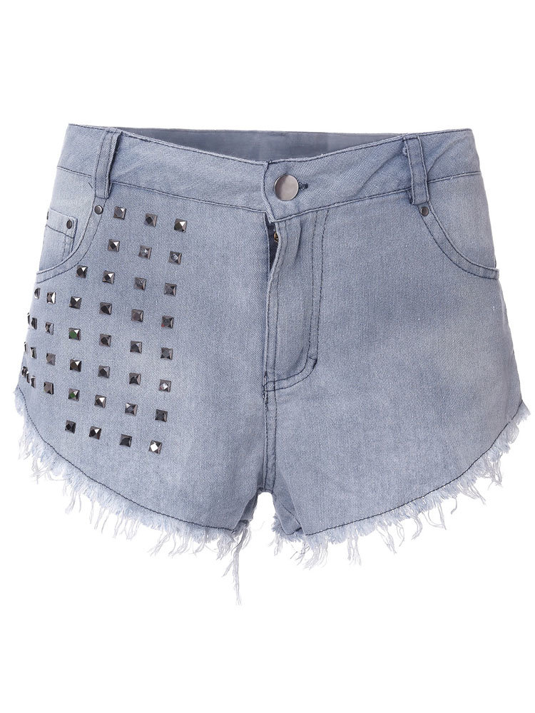 Sexy Sequins Embellished High Waist Jean Shorts