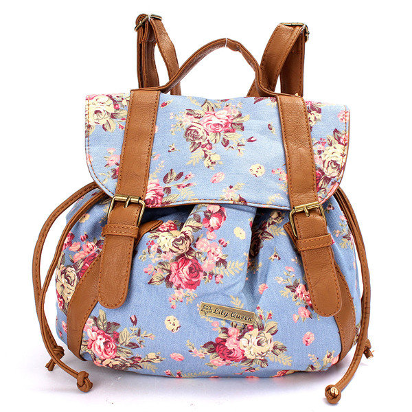 Canvas Floral Print PU Leather Women Backpack