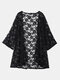 Sexy Women Lace Embroidery Half Sleeve Loose Beach Cardigan