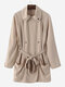 Women Casual Double-breasted Bandage Trench Coat