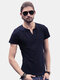 Mens Summer Basic Tops Tees All-match Cotton Solid Color V Neck Buttons Short Sleeved Tshirts
