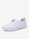 Stitching Lace Up Pure Color Flat Sport Casual Lazy Shoes