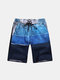 Plus Size Mens Summer Cartographic Printing Quick Dry Swimming Surfing Beach Shorts