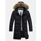 Men's Winter Business Knee-Length Warm Hooded Down Large Size Long Trench Overcoat