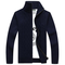Casual Twist Pattern Solid Color Knitted Sweater Stand Collar Long Sleeve Coats For Men