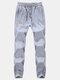 Плюс размер зима толстый теплый флис Подкладка Slim Fit сплошной цвет спортивные брюки для мужчин