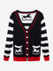 Casual Women Loose V Neck Print Knit Stripe Cardigan