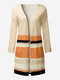 Women Casual Knitting Stripe Long Sleeve Cardigan