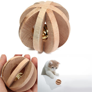 Pet Cat Kitten Wooded Bell Ball Fun Toy Puppy Small Animal Rabbit Hamster Rat