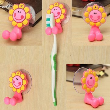 Creative Silicon Sunflower Toothbrush Holder With Suction Cup Set Wall Bathroom Hanger Suction SKU213673