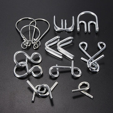 7 Sets IQ Test Toys Mind Game Brain Teaser Metal Wire Puzzles  Intelligence Toys
