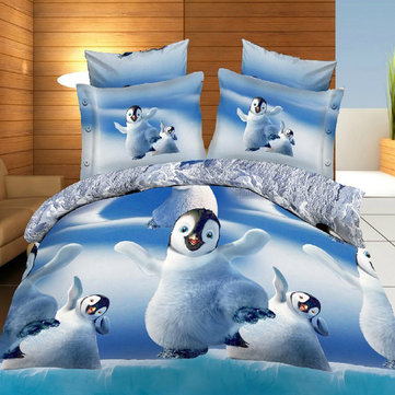 Buy 3D Cute Penguins Reactive Dyeing Thicken Bedding Sets Polyester Fiber Queen King Size Duvet Cover