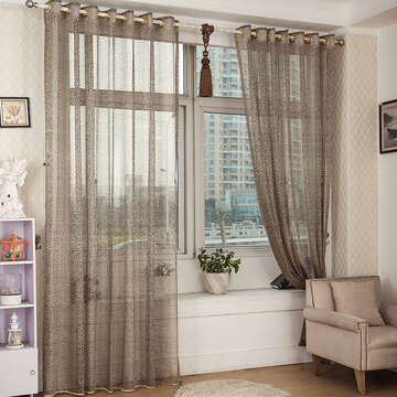 2 Panels Gray Jacquard Sheer Tulle Curtains Hollow Out Window Screening Bedroom Balcony Decor