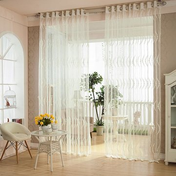 2 Panel Breathable Hollow Out Punching Window Screening Sheer Curtains Window Decor