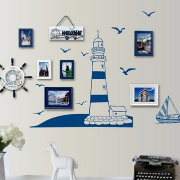 Mediterranean Style Removable Tower Sailboat Sea Gull Photo Home Art Wall Sticker Decal Decor Paper SKU230272