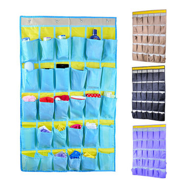 30pockets Oxford Home Door Wall Hanging Hook Sundries Organizer Holder Rack Shoes Scoks Ties Cloth Storage Bag