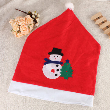 Christmas Snowman Decals Chair Cover Kitchen Dinner Seat Back Home Party Decoration