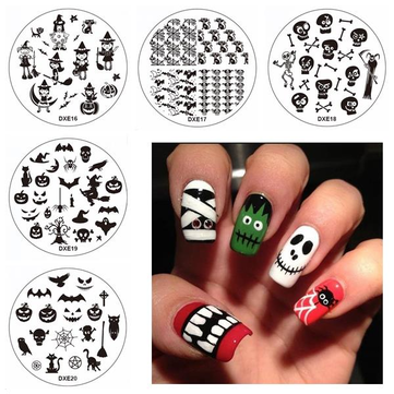 Buy Halloween Nail Art Stamping Broom Owl Ghost Witch DIY Tips Designs Printing Template