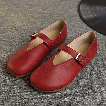 Socofy Hollow Out Buckle Leather Soft Flat Casual Slip On Loafers