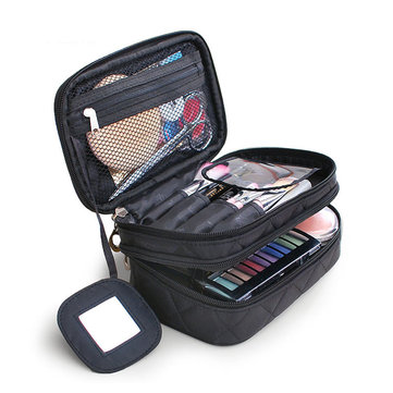 Honana Hn-b63 Large Double Layers Travel Cosmetic Bag Portable Makeup Organizer Toiletry Storage Bag