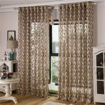 2 Panel Jacquard Feather Painted Sheer Tulle Curtains Bedroom Balcony Window Screening 4 Colors