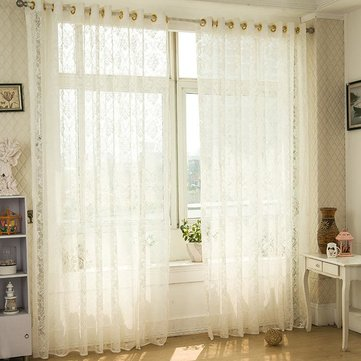 2 Panel White Punching Jacquard Breathable Voile Sheer Curtains Bedroom Living Room Window Screening