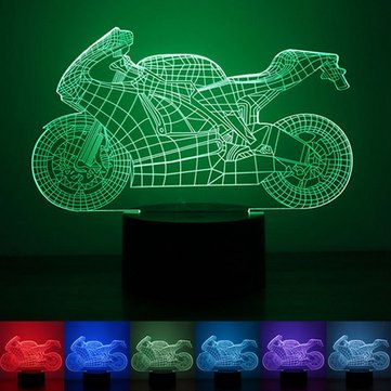 3D Motorcycle Illusion LED Table Desk Light USB 7 Color Changing Night Lamp Home Decor SKU531115