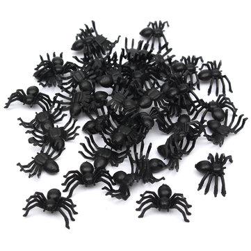 50pcs April Fool Plastic Spiders Spider Funny Joking Toy Halloween Decoration SKU273067