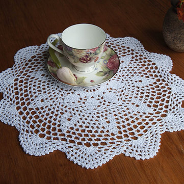 37cm Round White Pure Cotton Yarn Hand Crochet Lace Doily Placemat Table Cloth Decor SKU460298