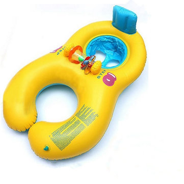 Inflatable Comfortable Mother And Baby Swim Float With Chair Seat Kids Swimming Ring SKU036084