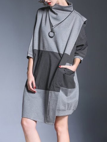 Miting Casual Patchwork Women Dresses
