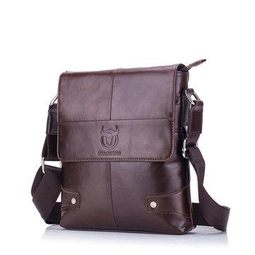 Bullcaptain Genuine Leather Message Bag Business Vintage Crossbody Bag For Men