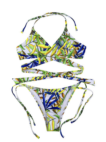 Sexy Backless Printed Bikini Sets