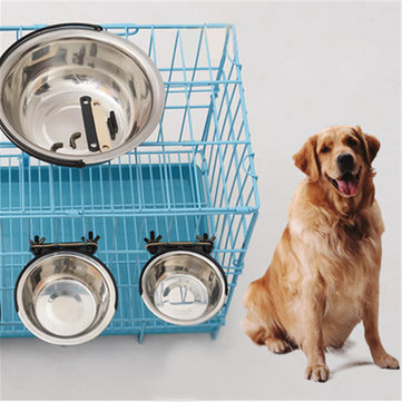 Pet Dog Puppy Stainless Steel Hanging Food Water Bowl Feeder For Crate Cage Coop SKU598353
