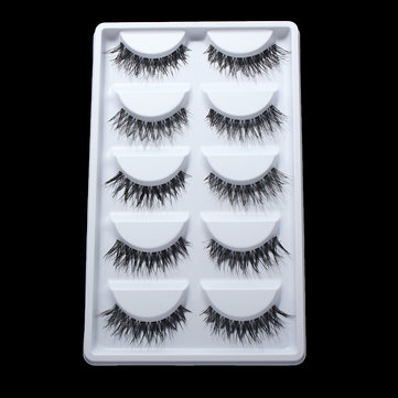 5 Pairs Natural Long False Eyelashes Synthetic Eye Lashes Eyelash Handmade