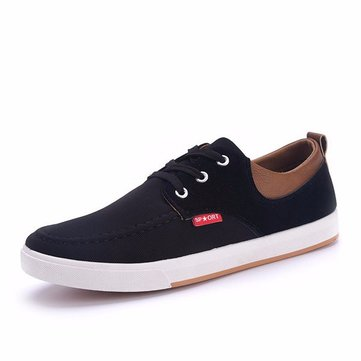 Buy Men Canvas British Style Breathable Match Lace Flat Casual Shoes