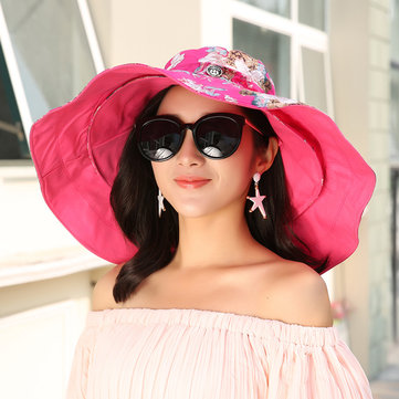 Women Foldable Anti-UV Double-side Beach Hat Outdoor Removable Wide Brim Sunscreen Bucket Hat