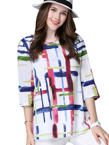 Casual Fashion Stripe Printed 3/4 Sleeve O Neck Blouse