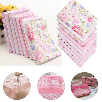 8pcs Pink Flower Design Cotton Fabric Diy Household Goods Patchwork Handcraft Sewing Cloth