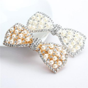 Buy Women Wedding Bride Crystal Rhinestone Flower Pearl Hair Clip Headband