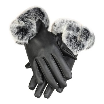 Cold Winter Warm Women Rabbit Fur Artificial Leather Screen Touch Windproof Gloves SKU309335